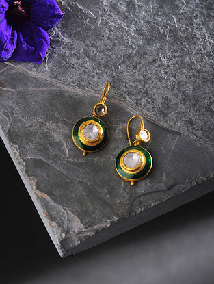 Green Enameled Polki Gold Earrings