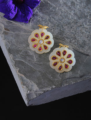 Jade Polki Gold Earrings