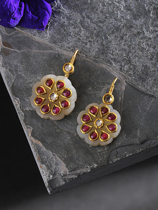 Jade and Ruby Polki Gold Earrings