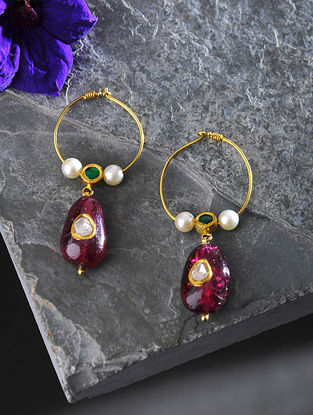 Tourmaline and Pearl Polki Gold Earrings