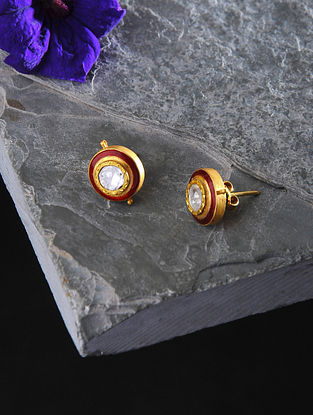 Red Enameled Polki Gold Earrings