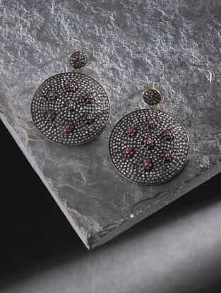 Ruby and Diamond Silver Earrings