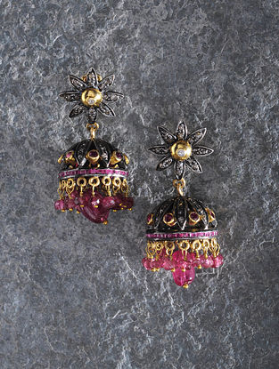 Ruby and Tourmaline Gold Jhumkis