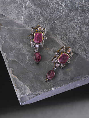 Tourmaline Diamond Gold Earrings