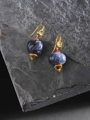 Sapphire and Ruby Polki Gold Earrings