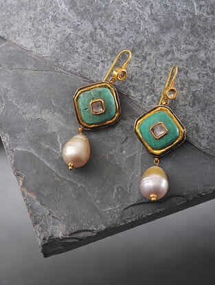 Turquoise and South Sea Pearl Polki Gold Earrings