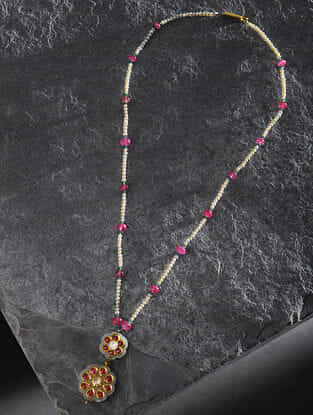 Jade and Ruby Polki Necklace with Pearls