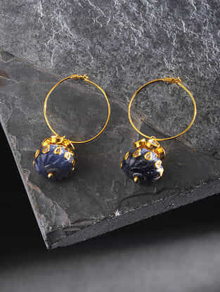 Sapphire Polki Gold Earrings