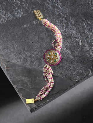 Ruby and Jade Pearl Beaded Gold Bracelet