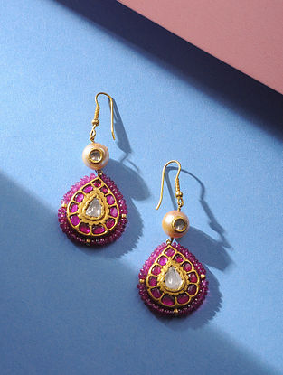 Polki Gold Earrings With Ruby and Pearls