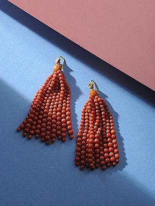 Coral Polki Gold Earrings