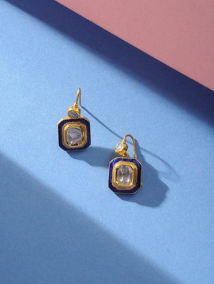 Blue Enameled Polki Gold Earrings