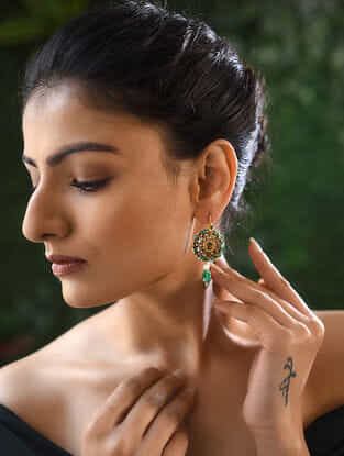 Emerald and Pearl Polki Gold Earrings