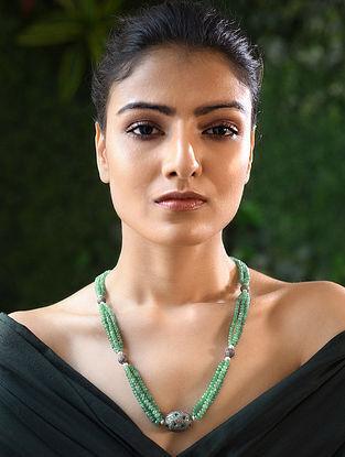 Emerald Beaded Diamond Silver Necklace