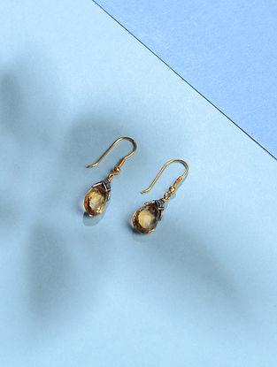 Yellow Topaz and Diamond Gold Earrings