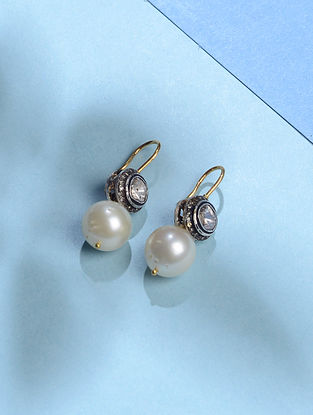 Pearl and Polki Diamond Gold Earrings