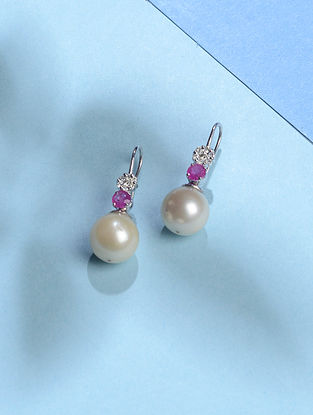 South Sea Baroque Pearl and Ruby Diamond Gold Earrings