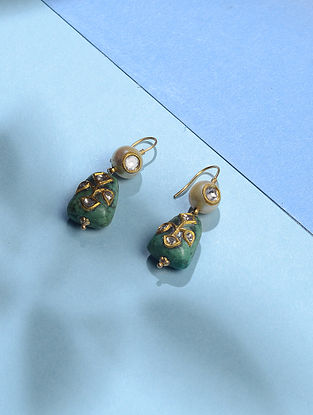 Turquoise Polki Gold Earrings with Pearls