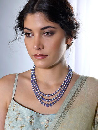 Tanzanite and Pearl Beaded Necklace
