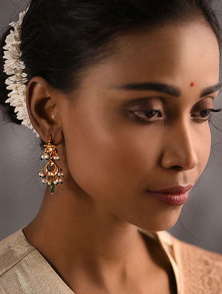Emerald and Ruby Polki Gold Earrings