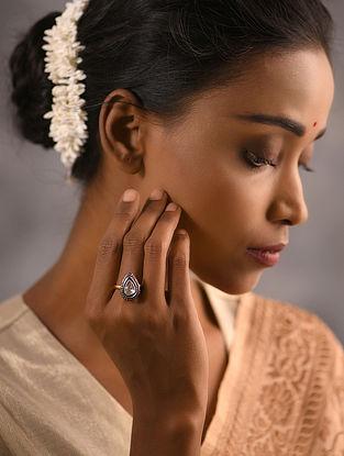 Diamond and Polki Silver Ring (Ring Size - 6)