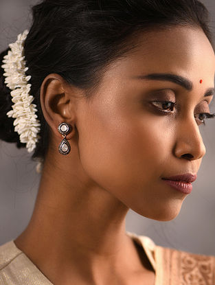 Diamond and Polki Silver Earrings