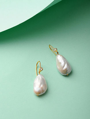 Baroque Pearl and Diamond Gold Earrings