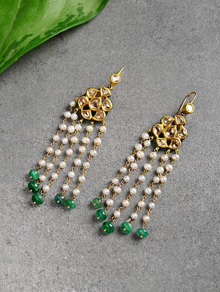 Emerald Polki Gold Earrings with Pearls