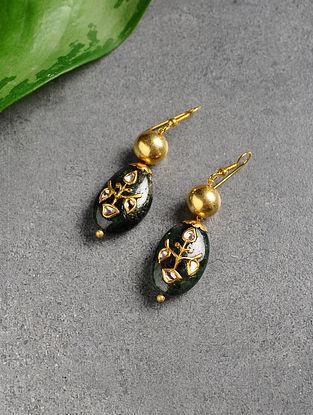 Emerald Polki Gold Earrings