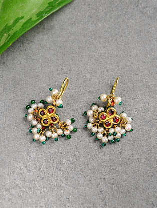 Ruby and Pearl Gold Earrings