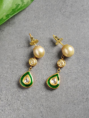 Pearl and Diamond Polki Gold Earrings