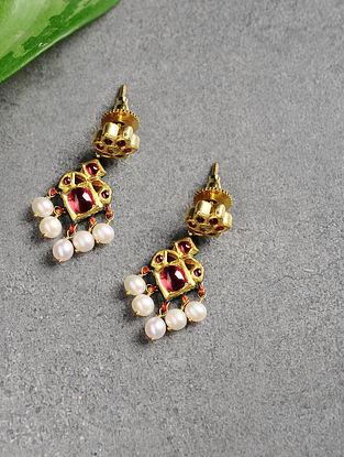 Ruby and Pearl Polki Gold Earrings
