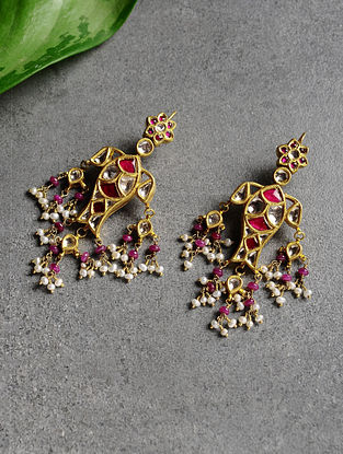 Ruby Polki Gold Earrings