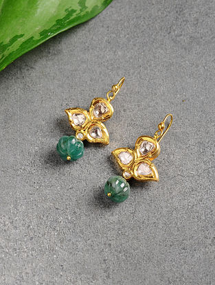 Emerald Polki Gold Earrings