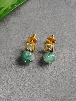 Emerald and Polki Gold Earrings