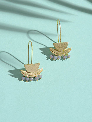 Grey Chalcedony Gold-plated Silver Earrings