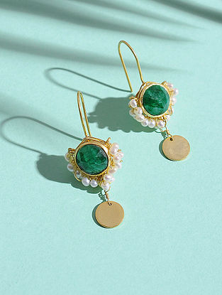 Emerald and Fresh Water Pearl Gold-plated Silver Earrings
