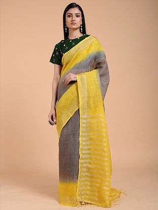 Grey-Yellow Ombre-dyed Linen Saree with Zari