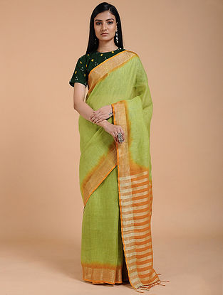 Green-Orange Ombre-dyed Linen Saree with Zari