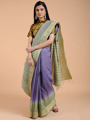 Purple-Grey Ombre-dyed Linen Saree with Zari