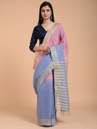 Blue-Pink Ombre-dyed Linen Saree with Zari