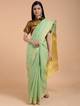 Green-Yellow Ombre-dyed Linen Saree with Zari