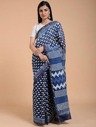 Indigo-Ivory Dabu-printed Chanderi Saree with Zari Border