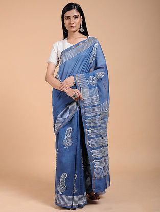 Indigo-Ivory Block-printed Chanderi Saree with Zari Border