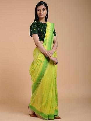 Yellow-Green Shibori-dyed Chanderi Saree with Zari Border