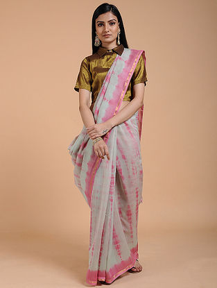 Grey-Pink Shibori-dyed Chanderi Saree with Zari Border