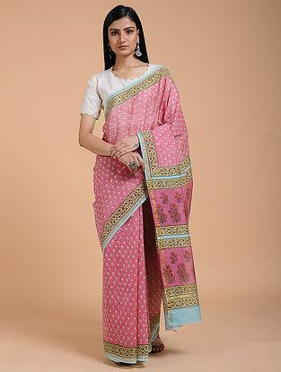 Pink-Turquoise Block-printed Chanderi Saree