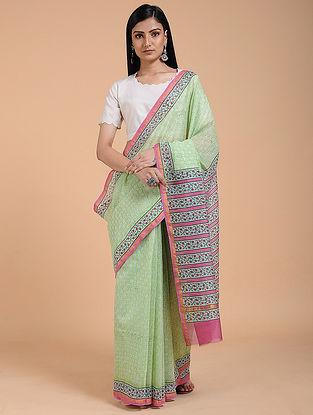 Green-Pink Block-printed Chanderi Saree with Zari