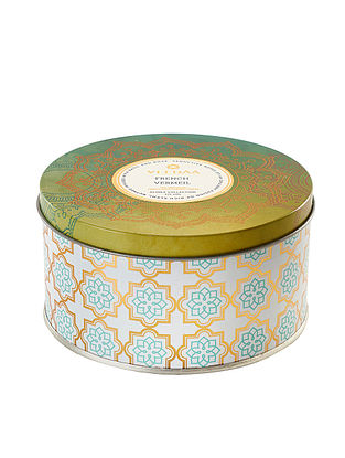 French Vermeil 3 Wick Tin Scented Candle (Dia: 4.5in, H:2.3)