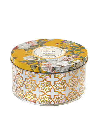 Victorian Tea Rose 3 Wick Tin Scented Candle (Dia: 4.5in, H:2.3)